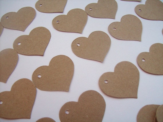 50 Kraft Heart Gift tags - 1.5 inch