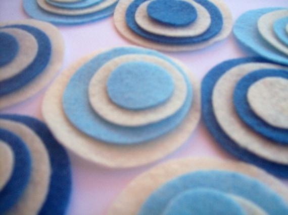 Felt circles, 4 sizes, blues, felt, fabric circles