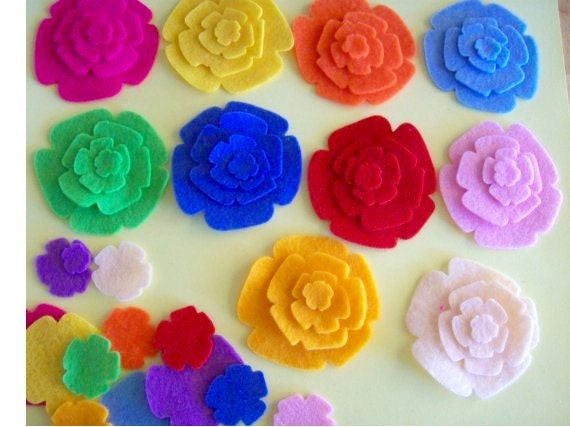 felt flowers for applique, scrapbooking, hair clippies