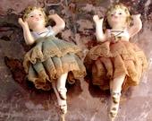 Shabby Chic Antique Ceramic Ballerinas with Tulle Tutu's