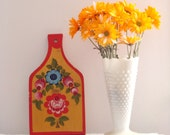 Retro Folk Scandinavian Style Painting Flowers Red Pink Blue Gold Paddle Wall Hanging