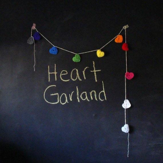 RESERVED PRIM001 I Heart You - Rainbow Crochet Heart 4 Foot Valentine Decoration Garland