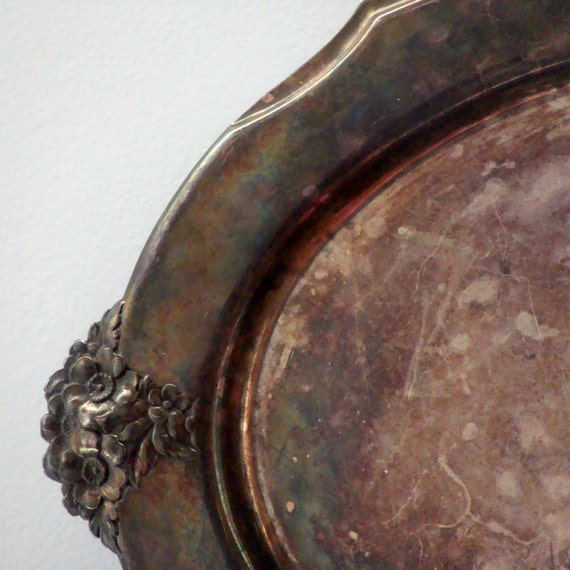 Patina Wilcox Silver Plated Shabby Chic Embossed Floral Detail Footed Serving Tray