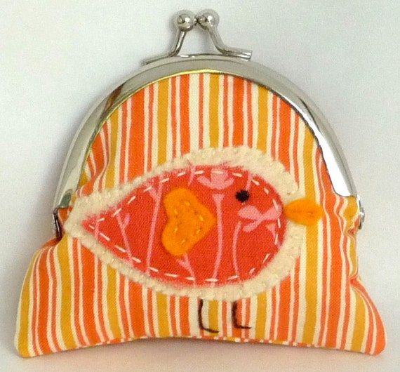 Coin Purse - Wallet - Change Purse - Metal Framed Small Clutch - Orange Little Birdie Applique
