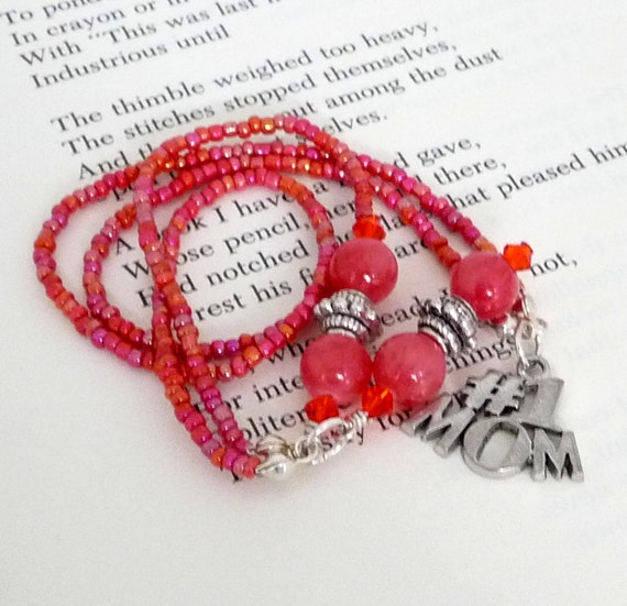 Beaded Bookmark Bookthong Book Thong Number 1 MOM Charm Mothers Day