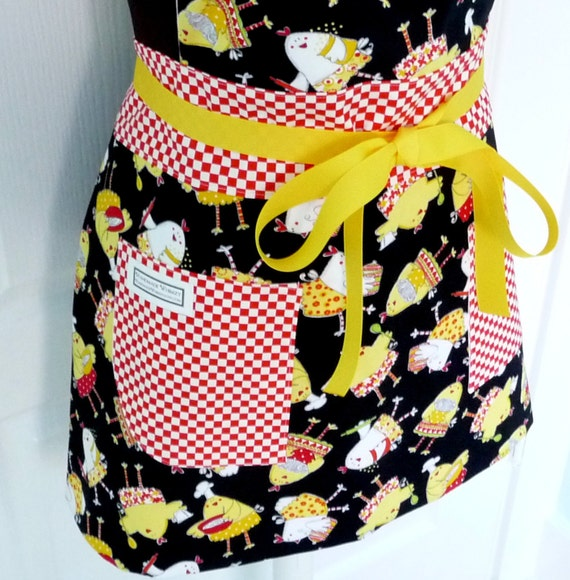 Full Size Adult Chef Apron Hostess Apron Do the Funky Chicken  - Timeless Treasure Fabric