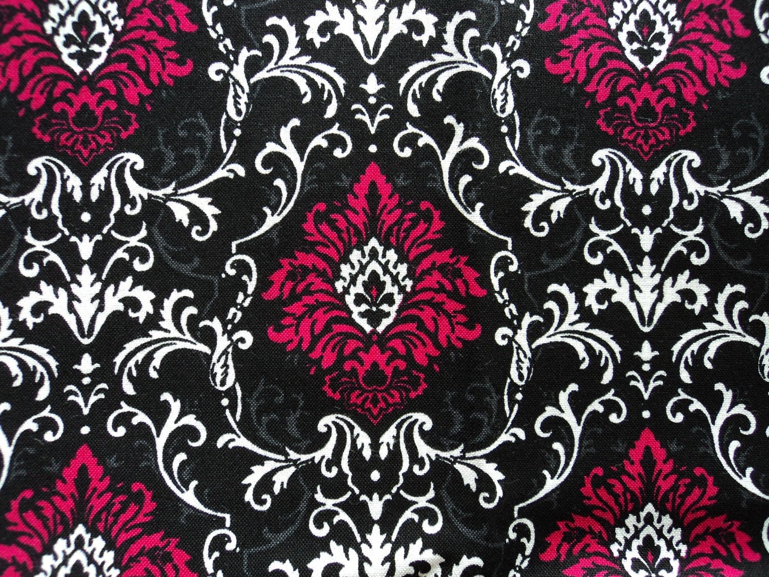 Hot Pink Damask Cotton Quilting Fabric Last 1 Yard