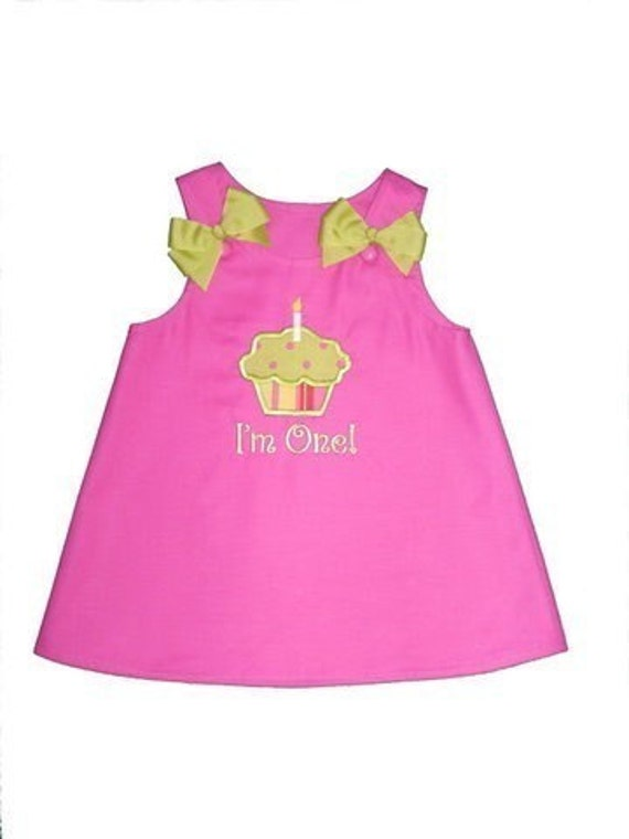 Hot Pink and Tropical Lime First Birthday Cupcake Dress