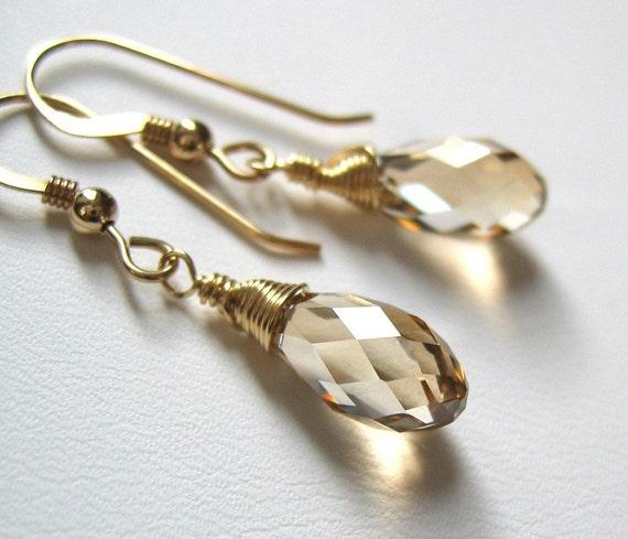 Golden Shadow Swarovski Wrap Earrings