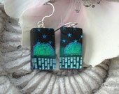 Starry Night Fused Dichroic Glass Earrings Sterling Silver 080110e105