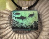 Sea Life Fused Dichroic Glass Pendant and Necklace 102010p101