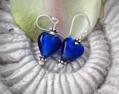Stunning Cobalt Blue Heart Glass Sterling Silver Earrings 123111e108