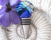 Stainless Steel - Fused Dicxhroic Glass Bottle Stop - Dichroic Glass - Bar -  Wine - FDA Approved - Made in USA  060711ws100