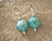 Shimmering  Teal Green  Lightweight Glass Sterling Silver Earrings 030912e100a