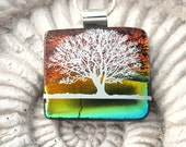 Tree - Dichroic Fused Glass jewelry - Red Sunset - Fused Dichroic Glass Pendant Necklace  080111p103