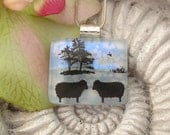 Wooly Sheep -  Dichroic Glass Pendant - Dichroic Fused Glass Jewelry - Fused Glass Nature  121711p107