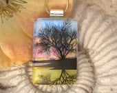 Reflection Tree Fused Glass Jewelry - Dichroic Necklace - Fused  Glass Necklace Nature - 012212p101