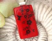 Fused Glass Jewelry - Cherry Red - Hummingbird Blossoms-  - Fused Glass Pendant -  Glass Pendant - Necklace 032912p112