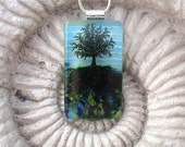 Dichroic Glass Pendant - Tree of Life Dichroic Fused Glass Jewelry - Necklace 042412p104
