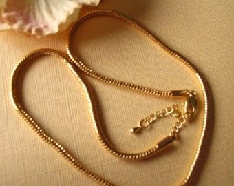 18 Inch Gold Plated 3.3MM Snake Necklace With Extender