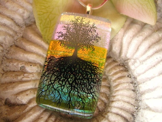 Sale Magical Sunset Necklace Magical Tree of Life Fused Dichroic Glass Pendant Necklace 120309p101a