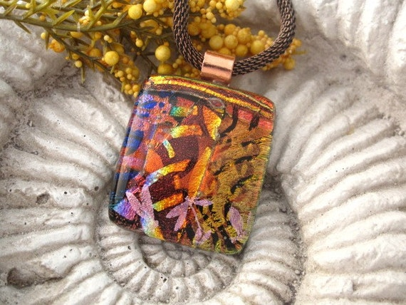 Copper Mesh Necklace and Earthly Pleasures Fused Dichroic Glass Pendant 011010p103
