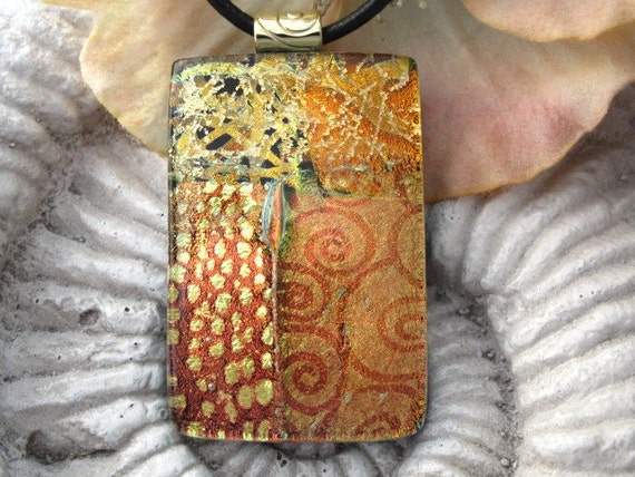 Golden Delights Fused Dichroic Glass Pendant Necklace Included 022311p116