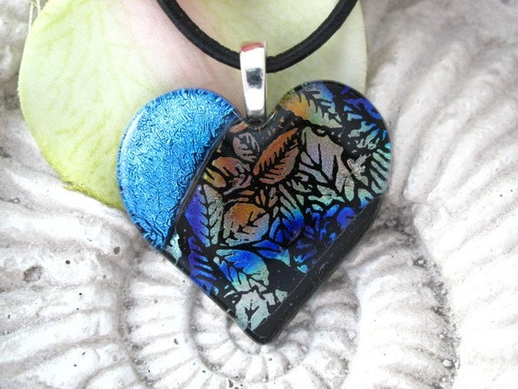 Autumn Leaf Necklace - Heart Necklace - Nature Jewelry - Leaf - Dichroic Jewelry - Fused Glass Jewelry - Heart Necklace 092412p100