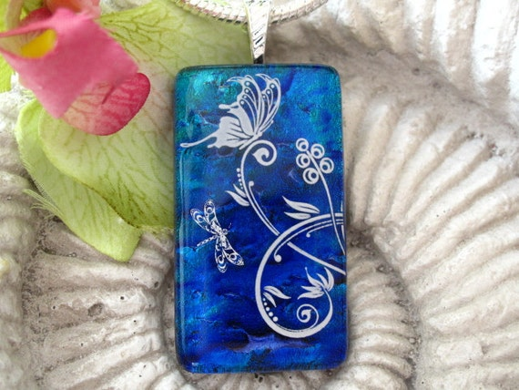 Dichroic Glass Pendant - Butterfly  - Fused Dichroic Glass Jewelry - Dichroic Glass Necklace - Floral Garden - 090511p105
