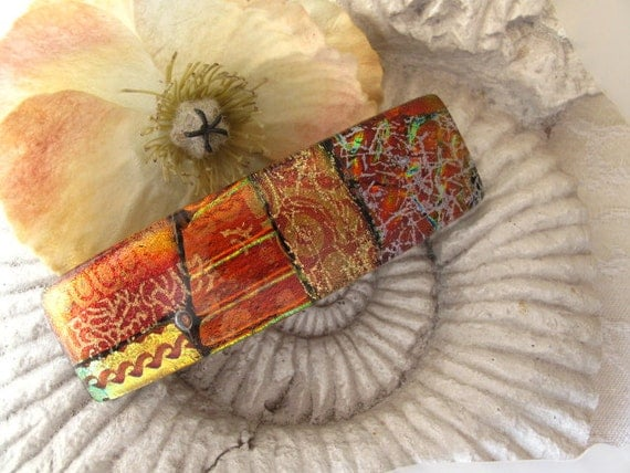French Barrette, Copper Gold Red, Fused Dichroic Glass Barrette, Fused Glass 082911p103