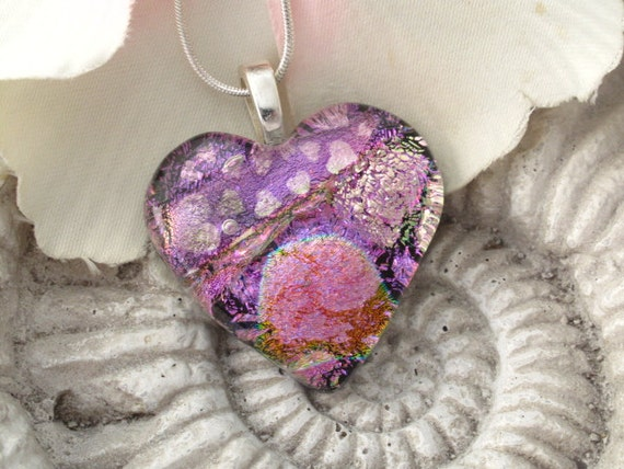 Pink Heart -  Fused Dichroic Heart -Dichroic Fused Glass Pendant - Dichroic Fused Glass Jewelry Necklace 051810p100