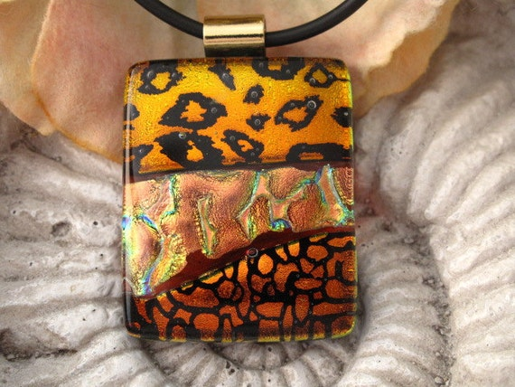 Copper Fused Glass Pendant, Fused Glass Jewelry, Dichroic Pendant, Fused Dichroic Glass Pendant and Necklace 091011p102