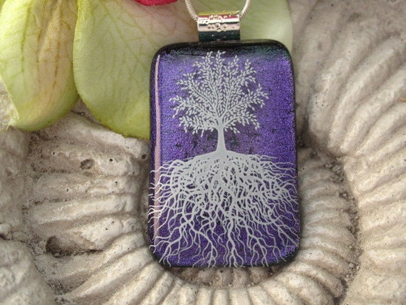 Purple Tree of Life Penant,  Fused Dichroic Glass Pendant & Necklace Dichroic Pendant, Fused Glass Jewelry 091911p110