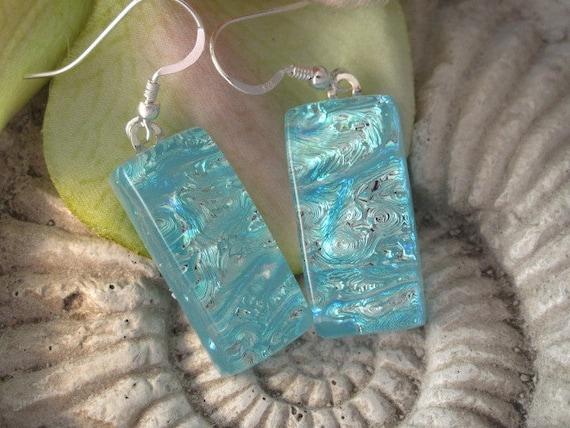 Dichroic Fused Glass Jewelry, Silvery Aqua  Ripple,  Fused Dichroic Glass Earrings 100911e102