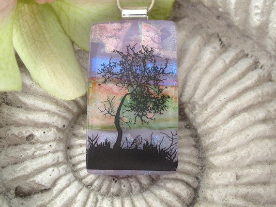 Dichroic Fused Glass Jewelry - Tree - Pendant - Dichroic Glass 102311p110