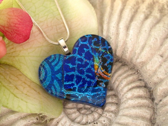 Blue Heart Fused Glass Pendant - Dichroic Glass Pendant - Fused Glass Jewelry -  Fused Dichroic Glass Jewelry 110111p114