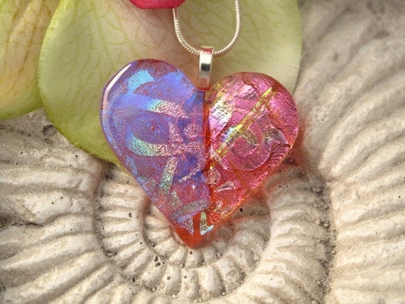 Dichroic Glass Pendant - Pink Heart Pendant - Dichroic Fused Glass Jewelry -Necklace 111711p109