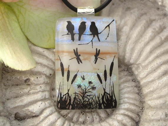 Dichroic Fused Glass Jewelry - Birds of a Feather - Fused Dichroic Glass Pendant & Necklace 112011p103