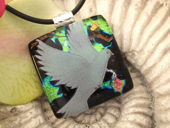 Dove - Dichroic Glass Pendant - Dichroic Fused Glass Jewelry - Fused Glass Pendant and Necklace 112611p106