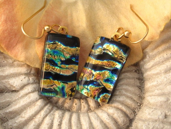 Golden Ripple - Fused Glass Earrings - Dichroic Glass Earrings - Dichroic Fused Glass Jewelry -14KT GF Earrings 120411e101