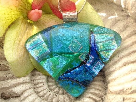 Dichroic Glass Pendant - Green &  Aqua  -  Dichroic Fused Glass Jewelry - Necklace 121211p110