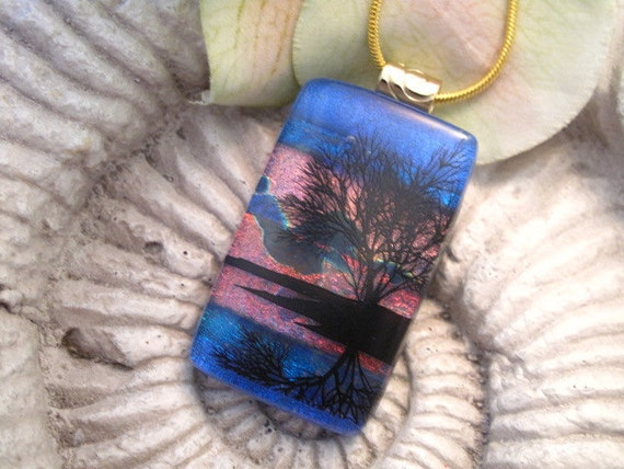 Dichroic Fused Glass Jewelry -  Reflection Tree - Pendant - Dichroic Glass Pendant 121511p109