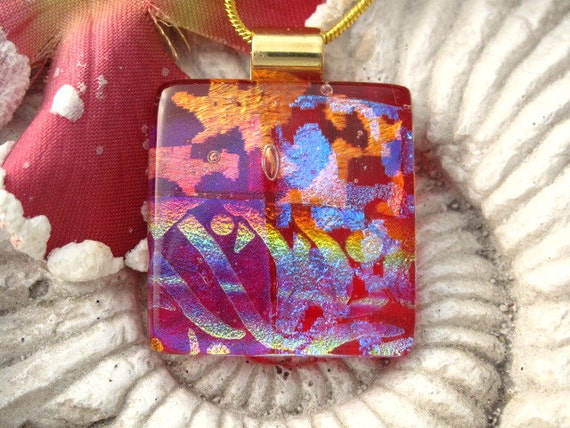 Red Pendant - Dichroic Fused Glass Jewelry - Fused Glass Pendant - Dichroic Glass Pendant  - Necklace 122111p101