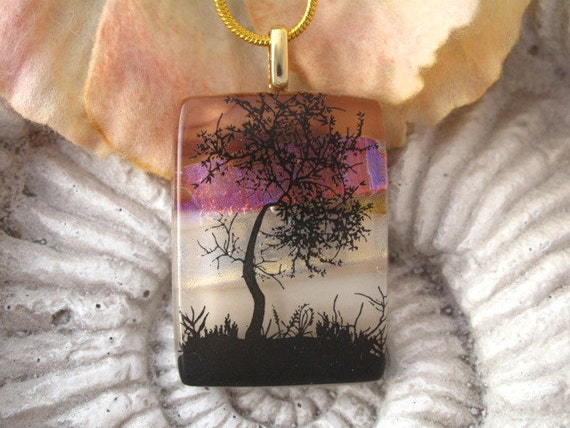 Sunset Tree Fused Glass Jewelry -  Dichroic Necklace - Glass Necklace - Nature - Fused  Glass Necklace 010112p106