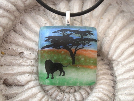 Lion's Sunset Journey -   Dichroic Fused Glass Jewelry - Dichroic Glass Pendant and Necklace Africa - Jungle 010712p103