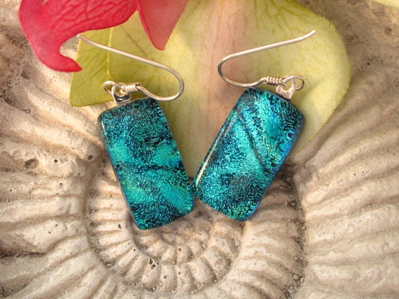Blue Waves -  Fused Dichroic Glass Earrings -  Dichroic Fused Glass Jewelry -  Sterling Silver  Surgical Steel 012312e101