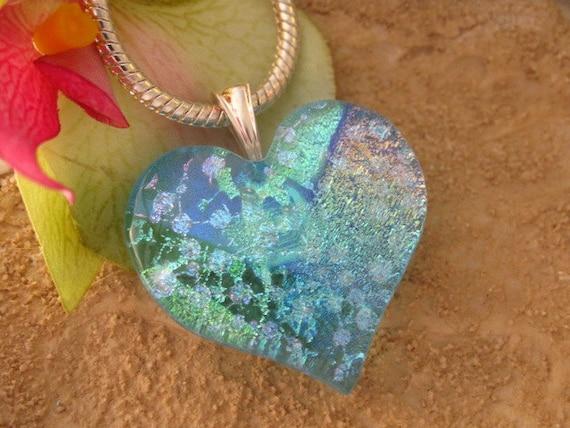 Aqua Blue Heart Pendant -  Dichroic Fused Glass Jewelry -  Heart - Fused Dichroic Glass Heart Necklace 012612p100