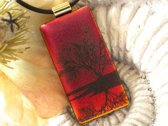 Deep Red - Dichroic Glass Pendant - Dichroic Fused Glass Jewelry -  Reflection Tree - Pendant - Dichroic Glass 020512p100