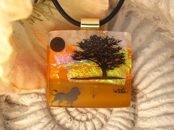 Dichroic Glass Pendant - Lion's Sunset Journey -   Dichroic Fused Glass Jewelry - Necklace 020812p105