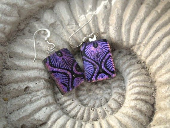 Petite - Art Deco Style - Dichroic Fused Glass Jewelry - Purple Dichroic  Earrings- Fused Glass Earrings -Sterling Silver  021812e105